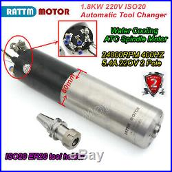 1.8KW 220V ATC Automatic Tool Change Water Spindle Motor Mill Machine Kit ISO20