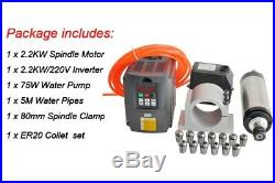 2.2KW CNC Spindle 220V Water Cooled Spindle Router Kit+220V VFD Inverter+80mm