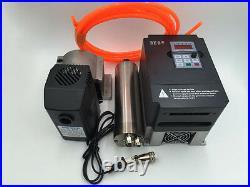 2.2KW ER20 Water-cooled Spindle Motor&2.2KW VFD Inverter&Bracket&Pump CNC Kit