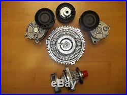 Bmw E46 E39 Water Pump FAN Clutch Belt Tensioner with Pulley Kit Set new GNS