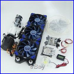 CPU GPU Water Liquid Cooling 360 Radiator Kit Pump 190mm Reservoir LED Heat Sink