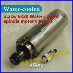 DE2.2KW ER20 220V CNC Water Cooled Spindle Motor+VFD Inverter+Clamp+Collet Kit