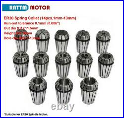 DE 2.2KW ER20 CNC Wassergekühlter Water Spindel Motor&VFD&Clamp&Pump&Collet Kit