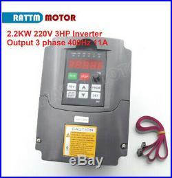 DE CNC 2.2KW 24000rpm Water Cooled Spindle Motor ER20+HY 2.2KW Inverter VFD Kit
