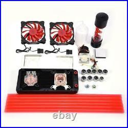 DIY Computer Water Cooling Kit 240mm Reservoir Pump CPU GPU Block Hard Tubes Fan