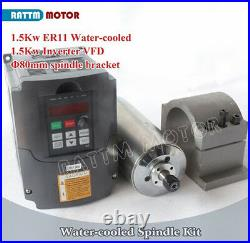EU1.5KW Water Cooled Spindle Kit 1500W ER11 80mm & 1.5KW HY VFD for CNC