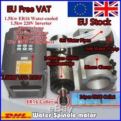 EU 1.5KW Water Cooled Spindle Motor ER16&VFD Inverte&Clamp&Pump&Collet CNC Kit