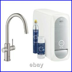 GROHE Blue Home C-Spout Filter Tap, Cool and Sparkling Water Kit in Supersteel