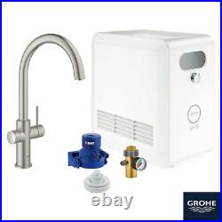 GROHE Blue Professional C-Spout Filter Tap, Cool & Sparkling Water Kit Supersteel