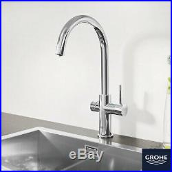 GROHE Blue Professional C-Spout Filter Tap, Cool and Sparkling Water Kit Chrome