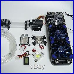 PC Liquid Cooling 360 Radiator Kit Pump 190mm Reservoir CPU GPU HeatSink Blue