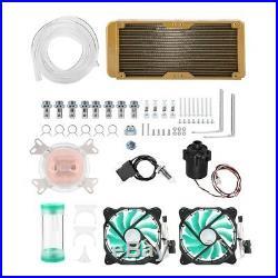 PC Liquid Water Cooling DIY Kit 240mm Radiator CPU Block 2 Fan Pump Reservoir