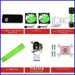 PC Liquid Water Cooling Kit 240mm Radiator CPU Block Pump Cooler Heatsink Fan