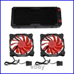 Pro Water Cooling Kit 240mm CPU GPU Block Pump Reservoir 2x LED Fans RH