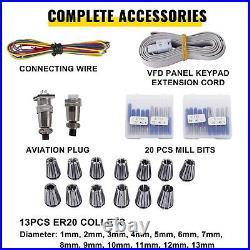 VEVOR CNC Water Cooled Spindle Motor Kit 2.2KW 220V VFD Clamp Pump Pipe Collet